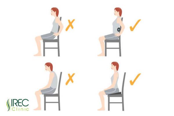 Tư thế ngồi đúng phòng tránh đau lưng và thoát vị đĩa đệm cột sống thắt lưng